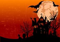 Priorità bassa di Halloween con la casa frequentata Fotografie Stock Libere da Diritti