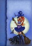 Priorità bassa di Halloween con la strega Fotografia Stock