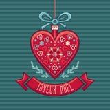 Priorità bassa di inverno Cartolina di Natale Joyeux Noel Fotografie Stock Libere da Diritti