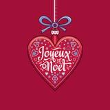Priorità bassa di inverno Cartolina di Natale Joyeux Noel Fotografia Stock