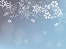 Priorità bassa di inverno con i fiocchi di neve Progettazione di festa Vettore Fotografia Stock