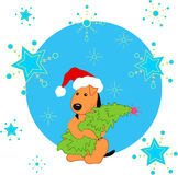 Priorità bassa di inverno con il cane e l'albero di Natale svegli Fotografia Stock