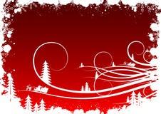 Priorità bassa di inverno di Grunge con i fiocchi di neve dell'abete e Santa Clau illustrazione di stock