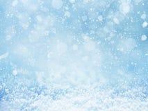 Priorità bassa di inverno Fiocchi di neve su neve Fotografia Stock Libera da Diritti