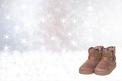 Priorità bassa di inverno Fondo di inverno di Natale con i nuovi wi marroni fotografia stock libera da diritti