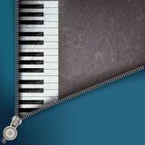 Priorità bassa di jazz con il piano e la chiusura lampo aperta Fotografie Stock Libere da Diritti