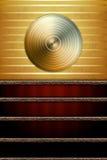 Priorità bassa di musica con il disco dorato illustrazione vettoriale
