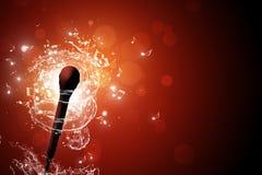 Priorità bassa di musica del microfono Fotografia Stock Libera da Diritti