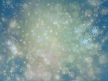 Priorità bassa di natale Cielo, fiocchi di neve e stelle di inverno Immagine Stock