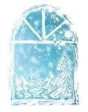 Priorità bassa di natale con i fiocchi della neve Fotografia Stock