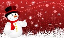 Priorità bassa di natale con i fiocchi di neve ed il pupazzo di neve Fotografie Stock Libere da Diritti