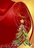 Priorità bassa di natale con l'albero di Natale Fotografie Stock