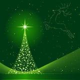Priorità bassa di natale con l'albero di Natale e la renna Fotografia Stock