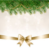Priorità bassa di natale con le filiali dell'albero di Natale Immagine Stock Libera da Diritti