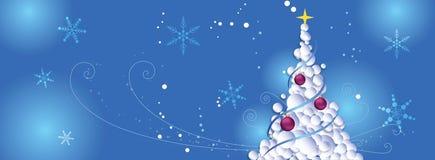 Priorità bassa di natale Può essere usato per una copertura del facebook con l'albero di Natale ed i fiocchi di neve Fotografia Stock