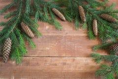 Priorità bassa di natale Rami attillati su una base di legno immagini stock libere da diritti