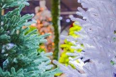 Priorità bassa di natale Un albero artificiale Nuovo anno Fotografia Stock