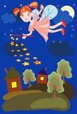 Priorità bassa di notte con il fairy Immagine Stock