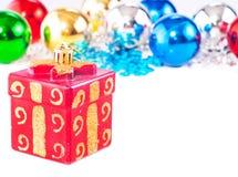 Priorità bassa di nuovo anno con le sfere variopinte Immagine Stock