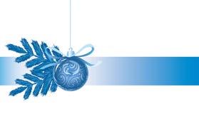 Priorità bassa di nuovo anno felice con la sfera blu Immagine Stock