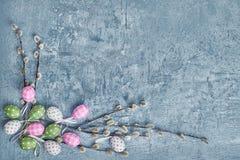 Priorità bassa di Pasqua Ramo del salice ed uova di Pasqua decorative Vista superiore, spazio della copia Fotografia Stock