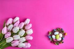 Priorità bassa di Pasqua Uova di Pasqua decorative e tulipani rosa Scheda di festa Copi lo spazio Immagini Stock