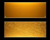 Priorità bassa di piastra metallica dell'oro Fotografie Stock Libere da Diritti