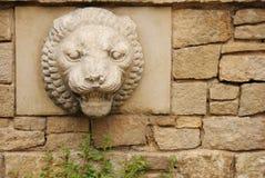 Priorità bassa di pietra con la testa del leone Fotografia Stock Libera da Diritti