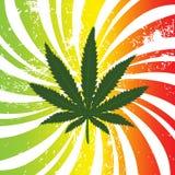 Priorità bassa di Rasta con il foglio della marijuana Immagini Stock