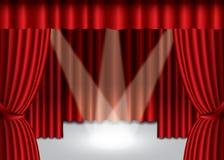 Priorità bassa di seta della tenda del teatro rosso Fotografie Stock Libere da Diritti