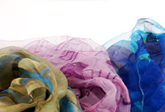 Priorità bassa di seta variopinta delle sciarpe Fotografia Stock