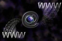 Priorità bassa di simboli di WWW, della terra e del email Fotografia Stock Libera da Diritti