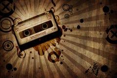 Priorità bassa di struttura di Grunge con il cassete di musica Immagine Stock Libera da Diritti