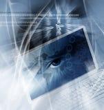 Priorità bassa di tecnologia con il calcolatore Fotografia Stock
