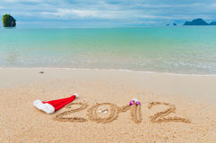 Priorità bassa di vacanza della spiaggia di natale Fotografia Stock