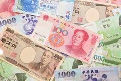 Priorità bassa di valuta asiatica Fotografie Stock Libere da Diritti