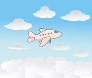 Priorità bassa di vettore con l'aereo ed il cielo Fotografia Stock