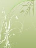 Priorità bassa di vettore con le piante e le farfalle Fotografia Stock Libera da Diritti