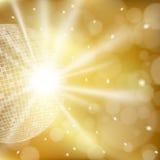 Priorità bassa dorata astratta con la sfera della discoteca Immagine Stock