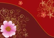 Priorità bassa dorata del fiore Immagine Stock