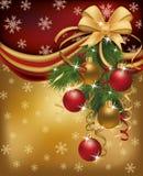 Priorità bassa dorata rossa di Buon Natale Immagine Stock Libera da Diritti