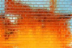 priorità bassa Dorato-blu del muro di mattoni del grunge Fotografia Stock