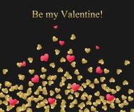 Priorità bassa felice di giorno dei biglietti di S Oro e cuore rosso con testo dorato Modello per creare la cartolina d'auguri, n Fotografie Stock