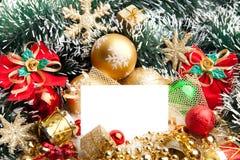 Priorità bassa festiva di natale decoration.card fotografie stock