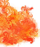 Priorità bassa floreale arancione dell'acquerello Illustrazione Vettoriale