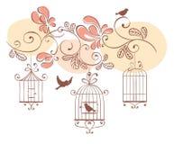 Priorità bassa floreale con gli uccelli Fotografia Stock Libera da Diritti