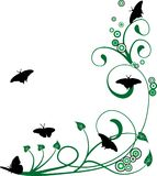 Priorità bassa floreale con le farfalle Fotografia Stock
