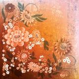 Priorità bassa floreale del grunge astratto con i fiori Fotografia Stock