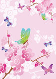 Priorità bassa floreale di vettore con le farfalle Fotografia Stock Libera da Diritti