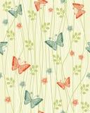 Priorità bassa floreale senza giunte con il vettore delle farfalle Immagini Stock